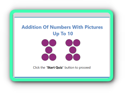 Numbers addition with pictures up to 10 math quiz