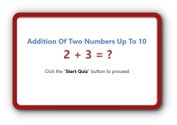 Adding two numbers up to 10 Quiz for Kindergarten