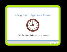 Clock reading quiz for kindergarten kids