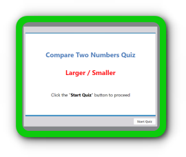 Comparison of two numbers – smaller or larger math quiz