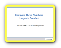 Comparison of three numbers – smallest or largest math test