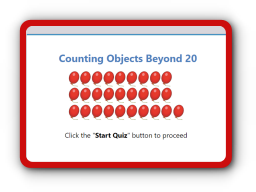 Count objects beyond 20 math quiz
