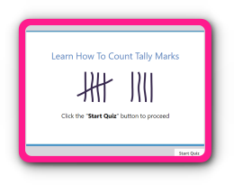 Count tally marks up to 10 math quiz for kindergarten kids
