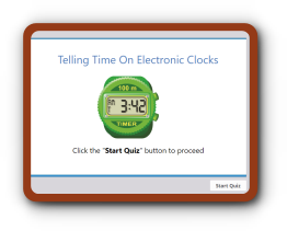 Electronic clock time telling quiz for kids
