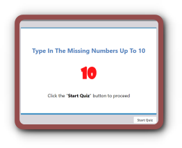 Fill in the missing numbers math quiz up to 10