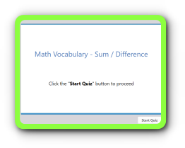 Math terms quiz – Sum or Difference