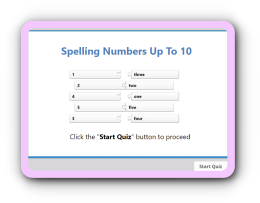 Numbers spelling- write in letters up to 10 quiz