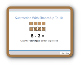 Subtraction with shapes math quiz up to 10