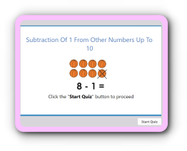 Subtracting 1 from other numbers up to 10 math quiz