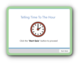 Time telling to the hour online quiz for children