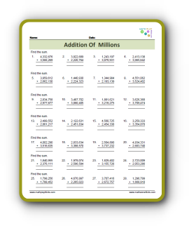 Addition Of Millions Pdf