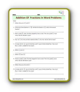 Addition Fraction Word Problems