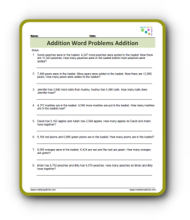 Addition Word Problems Pdf
