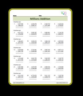 Millions Addition Worksheet
