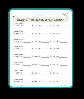 Division with Decimal Worksh