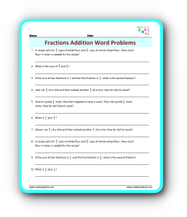Fraction Addition Word Problems