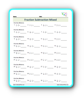 Fraction Subtraction With